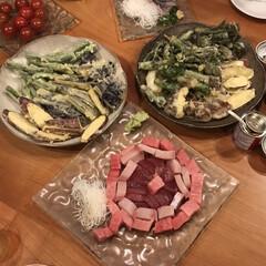 天ぷら/食器/おうち時間/ジェンガラケラミック/キッチン雑貨/おうちごはん/... 次男がお刺身切って 盛り付けてくれたら …