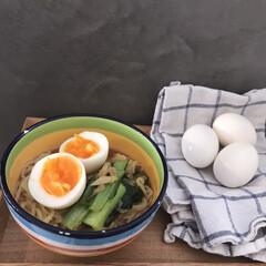時短料理/時短/ゆで卵/キッチン雑貨/キッチン/暮らし 休日のお昼は麺に頼ることが多いです。 余…(1枚目)