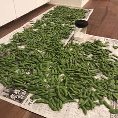 ハリオ ガラス珈琲キャニスター M MCN-200B | ハリオ(その他調理用具)を使ったクチコミ「パパ実家が送ってくれる茶豆を茹でました …」
