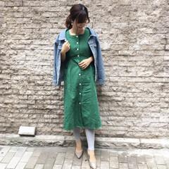 ワンピースコーデ/プチプラ/着回し/ファッション 夏に大流行したリネンワンピースも、レギン…