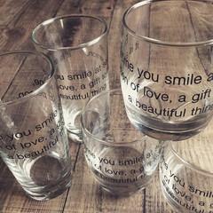 英字グラス/セリアグラス/グラス/100均/セリア セリアの英字グラス✨ シンプルでかっこい…