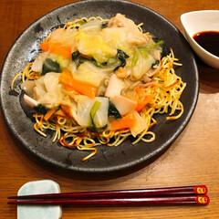 かた焼き/長崎チャンポン風/おうちごはん 今日の夕飯❣️ 長崎チャンポン風皿うどん…
