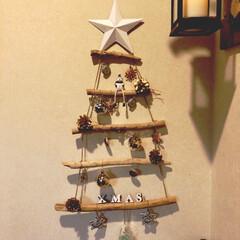 オーナメント/100均/セリア/雑貨/クリスマス 流木で🎄クリスマスオーナメント🎄を作りま…