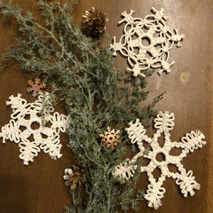 クリスマス/オーナメント/雪の結晶/マクラメ編み/DIY/ハンドメイド/... 今日は☁️☔️で気分もダダ下り⤵️💦 何…