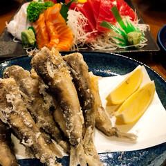 目光の唐揚げ/お魚屋さん/お刺身/おうちごはん 今日の夕飯❣️ お刺身と私が大好きな💕目…