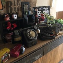 アンティーク風/アイアンペイント/フォロー大歓迎/ハンドメイド/DIY/雑貨/... アンティーク風黒電話☎︎❣️を100均の…