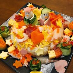スフレチーズケーキ/ちらし寿司/手作り/おうちごはん/ひな祭り/100均/... 3月3日雛祭り❣️ なので  ちらし寿司…