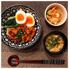 野菜スープ/春雨中華サラダ/Francfranc/カリフラワー/家庭菜園/LAWSON/... 今日の夕飯❣️ ルーロー飯とかに玉❗️ …