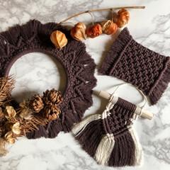 マクラメ編み/ブラウン/ミニマクラメタペストリー/マクラメコースター/マクラメリース/チョコクランチ・クッキー/... 流行りのブラウンで編んでみました❣️  …