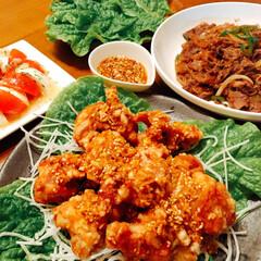 おうちごはん/プルコギ/コストコ/油淋鶏/フォロー大歓迎/わたしのごはん 今日の夕飯❣️ 油淋鶏!鶏肉一口タイプに…