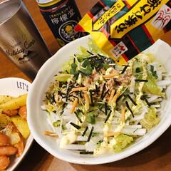 イベント参加/我が家の定番料理/永谷園海苔茶漬け/簡単大根サラダ/おうちごはん/うちの定番料理 我が家の定番料理❣️ 料理と言うほどのも…