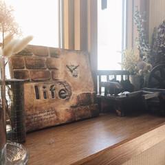 ハンコ/出窓/ドライフラワーのある暮らし/こぐま工房作品/煉瓦風/モルタル造形/... モルタル造形❣️ アンティークプレートを…(2枚目)