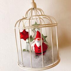 カゴの中にサンタ🎅/クリスマス2019/ダイソー/ハンドメイド DAISOのカゴ❗️  こんな感じにして…