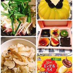 エンゼルパイ/松茸ご飯/優作鍋/スイーツ/フード/おうちごはん 今日は旦那の誕生日🎂  リクエストの優作…