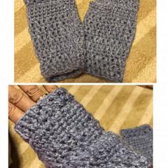 かぎ針編み/ハンドウォーマー/ネックウォーマー/2018 友達に頼まれたハンドウォーマーを編んでみ…