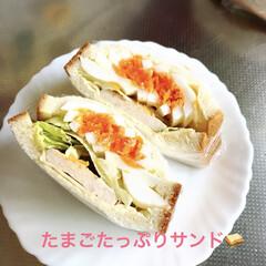 サンドイッチ/おうちごはん 今日は久しぶりのお休み❣️ たまには頑張…