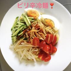 冷麺/おうちごはん 日曜日は朝昼晩とご飯支度に追われる〜💦 …