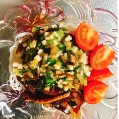 お素麺/夏野菜たっぷり/山形だし/おうちごはん/時短レシピ 今日は山形だしを作ってお素麺にかけて食べ…