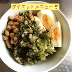 ゆで卵/納豆/豆腐/ダイエットメニュー/おうちごはん 今も夜ご飯を週2で続けてるダイエットメニ…