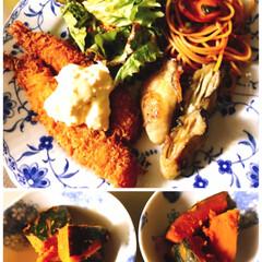 神戸土産/和歌山土産/チョコパン/チーズパン/牡蠣のムニエル/エビフライ/... 今夜はエビフライと牡蠣のムニエル❣️  …