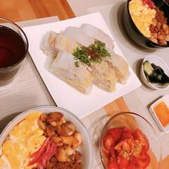 トマトマリネ/豚肉と白菜のミルフィーユ/そぼろ丼/節約 ※そぼろと照り焼きと卵の3色丼  ※白菜…