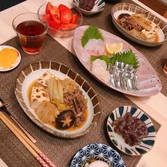 暑すぎる/デラウェア/すき煮 ※きびなご、貝柱、タイの刺身  ※すき煮…(1枚目)