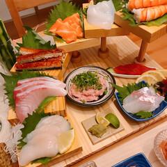 階段盛り/手巻き寿司 ※手巻き寿司🍣  ※あさりの味噌汁  階…(2枚目)