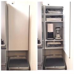 カラボリメイク/カラーボックス/キッチン壁紙/DIY収納/収納/キッチン収納/... ゴミ箱の上が空いてたので棚を作りました🤚…