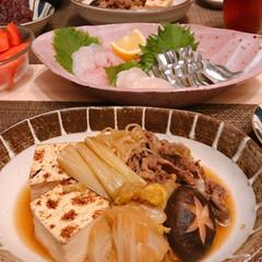 暑すぎる/デラウェア/すき煮 ※きびなご、貝柱、タイの刺身  ※すき煮…(2枚目)