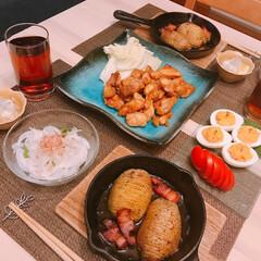 デビルエッグ/ハッセルバックポテト ※鶏肉の甘辛焼き  ※ハッセルバックポテ…(1枚目)