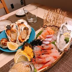 鮑/焼き牡蠣/ウニ美味しい❤️❤️/舟盛り 久しぶりに舟盛り🌊   ※牡蠣、ウニ、鮑…(2枚目)