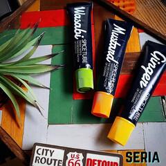 男前雑貨/カスタムキッチン/スパイスチューブカバーシール/セリア/Seria/フォロー大歓迎/... セリアの新商品‼ スパイスチューブカバー…