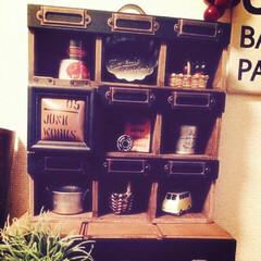 パーテーションボックス/100均リメイク/簡単DIY/黒×茶/ディスプレイボックス