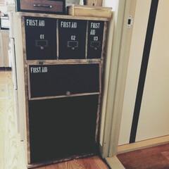 電話台リメイク/収納棚/黒×茶/ステンシル/ペイント/セルフリメイク 既製品の真っ白電話台をリメイクした時に、…