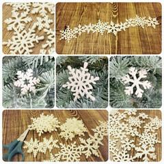 クリスマス/クリスマスツリー/オーナメント/雪の結晶/ナチュラルキッチン/100均 クリスマスツリーデコ