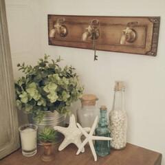 玄関/夏/瓶/フェイクグリーン/IKEA/キャンドル/... 玄関夏