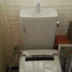 ダイソーリメイク/ダイソーリメイクシート トイレのタンクの後ろに壁紙貼り