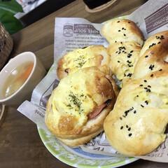 チーズ/ハムエッグ/パン/手作りパン/おすすめアイテム/はじめてフォト投稿/... 手作りパン🍞 ハムエッグとチーズパン🥐
