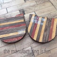 ダイソー/木製角材/コースター ダイソーの1㎝×1㎝の角材にニスを塗って…