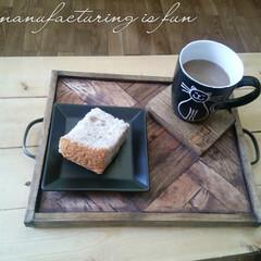 DIY/古民家風Café/Caféトレー/ヘリボーン柄 Café風インテリアに憧れて、古民家風C…
