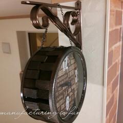 DIY/ダイソー/リメイク/時計/アイアン風/両面使い ダイソーの時計をアイアン風にリメイクしま…