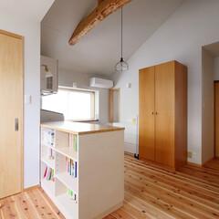 家事/家事室/洗濯/洗濯機/室内干し/梁/... ゆったりとした家事空間、フリースペース …