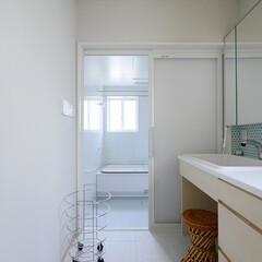 モザイクタイル/タイル/LIXIL/実験用流し/病院用流し/オリジナル洗面台/... ブルーのタイルが印象的な洗面化粧台 LI…