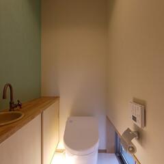 トイレ/トイレ収納/グリーンインテリア/アクセントクロス/壁紙/女性建築士/... アクセントカラーの壁紙を使ったトイレ 「…