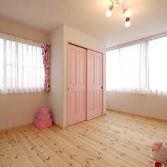 子ども部屋/キッズルーム/育児/インテリア/ピンク/自然素材/... ベビーピンクのインテリアの子ども部屋 M…