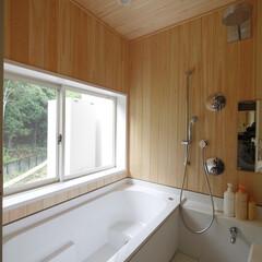 お風呂/風呂/浴室/お風呂掃除/掃除/ユニットバス/... ハーフユニットバスとヒノキの壁のお風呂 …