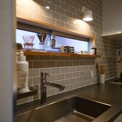 家事/キッチン/片付け/食器洗い/キッチンカウンター/キッチン収納/... 洗剤類はダイニングから見えにくい壁に置い…