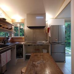キッチン/キッチン収納/オーダーメイドキッチン/ステンレスキッチン/ガゲナウ/パントリー/... 森を眺めるOPEN収納のキッチン 「森を…