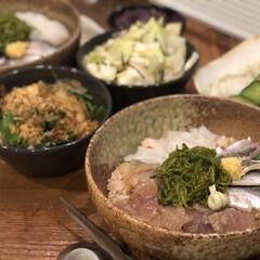 お気に入りのお皿/益子焼/海鮮丼/グルメ/フード/おうちごはん 今日のゆうごはん。 海鮮丼にしました🐟 …(1枚目)