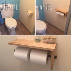 DIY/トイレ/クッションフロア/トイレットペーパーホルダー トイレの床も変えて、 トイレットペーパー…(1枚目)